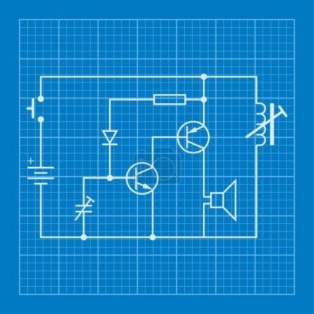 Photo for Electronic circuit scheme blueprint background - Royalty Free Image