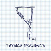 Loaded Movable Pulleys with spring and rope physics drawing on white squared paper sheet background