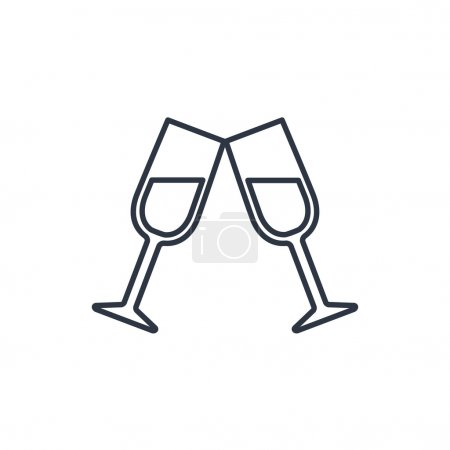Two glasses of wine or champagne icon