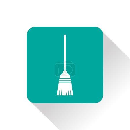 Broom green vector icon
