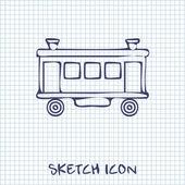 Railroad Car sketch icon