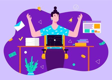 Illustration pour Brunette femme gestionnaire travaillant à l'aide d'un ordinateur portable et de réfléchir à de nouveaux ides. Concept de travail à distance depuis la maison. Design plat Illustration. Vecteur - image libre de droit