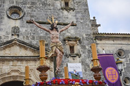 """Holy Week in Spain, procession of """"Christ the expiry, Our Lady o"""