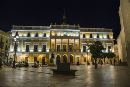 Badajoz City Hall at nicht, Spain...