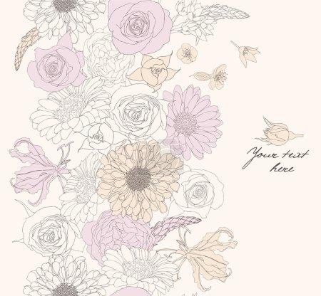 Photo pour Sans couture modélisme avec fleurs romantiques - image libre de droit