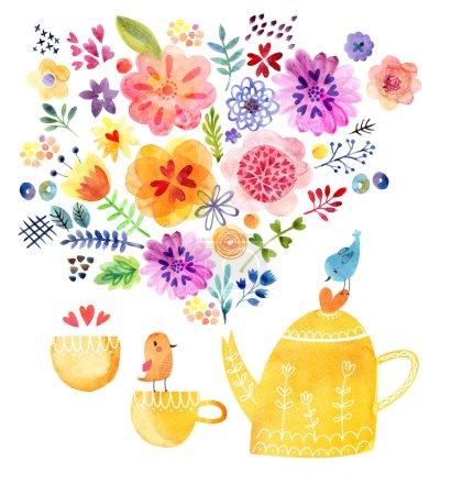 Photo pour Jolie carte Aquarelle avec fleurs et oiseaux - image libre de droit