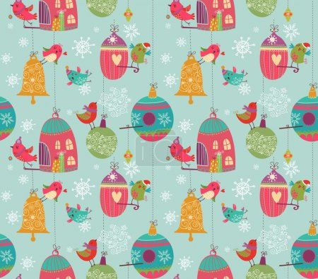 Illustration for Christmass style cute pattern with cartoon birds - Royalty Free Image