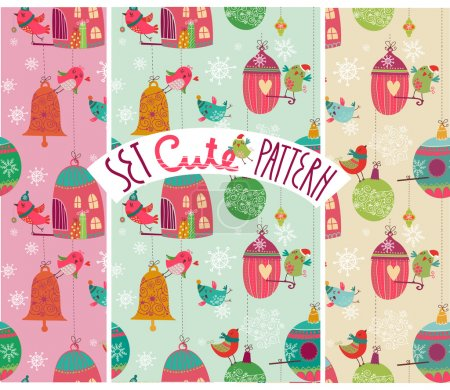 Illustration for Christmass pattern design set with beautiful birds - Royalty Free Image