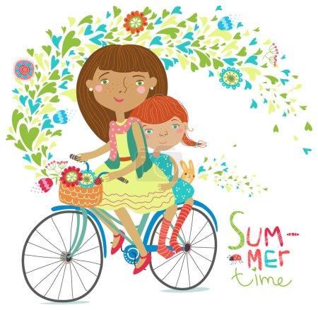 Couple on bicycle. Summer fun