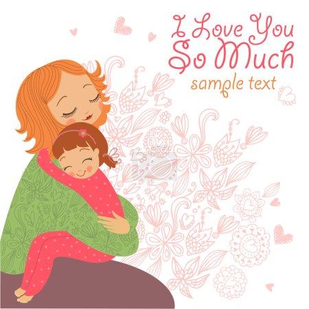 Illustration pour Femme embrasse sa fille. Je t'aime tellement - image libre de droit