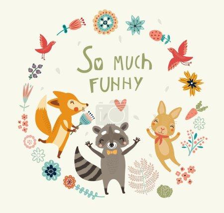 Illustration pour Tellement drôle ! Fond d'animaux mignons - image libre de droit