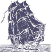 Isolated old sail ship on white background
