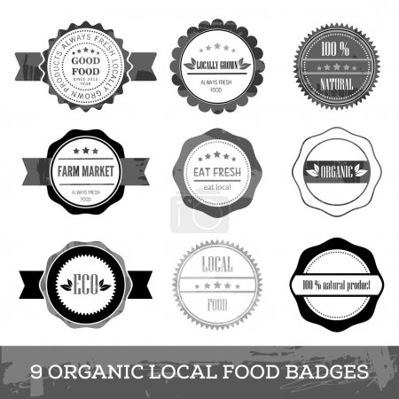 Photo pour Insigne de cercle simple hipster de nourriture locale fraîche biologique design plat - image libre de droit