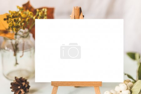 Photo for Identity and craft mockup set with retro filter effect. Cute vintage mock up on wooden background. Autumn styled mock-up. - Royalty Free Image