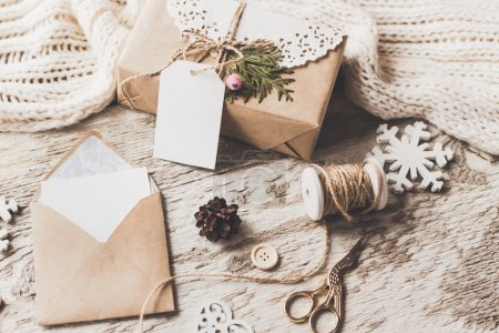 Photo for Stylish mockup to display artworks. Cute vintage Christmas, New Year gift composition  on wooden background. - Royalty Free Image