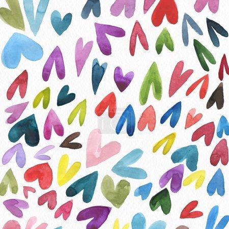 Photo pour Belle illustration à l'aquarelle avec des cœurs pour la Saint Valentin - image libre de droit