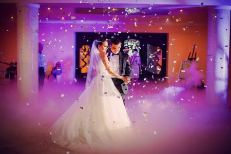 Romantic dance by wedding couple