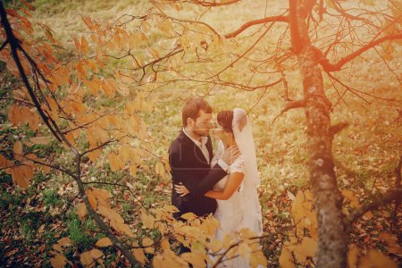 Wedding couple in love outdoors