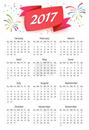 Calendar 2017 Vector Celebration template with week starting on sunday in white background