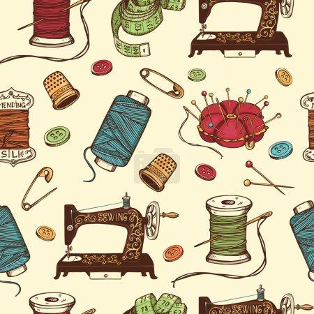 Hand drawn set of sewing tools