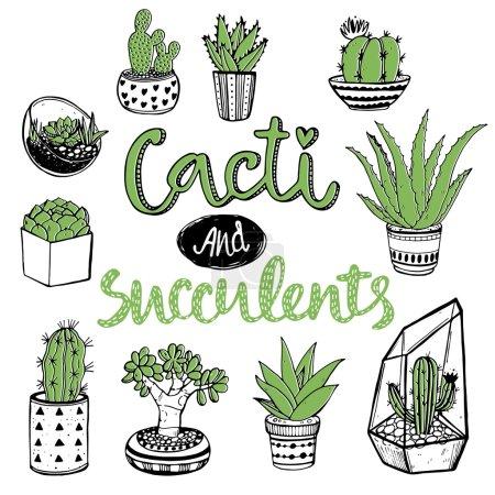 Illustration pour Ensemble dessiné à la main des cactus et des succulents avec la calligraphie manuscrite - image libre de droit