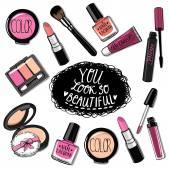 Hand drawn cosmetics set