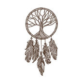 Hand drawn seamless pattern Indian dream catcher feather