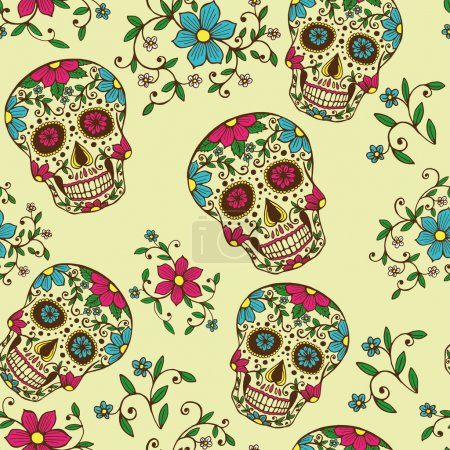 Illustration for Hand drawn Day of The Dead colorful skull with floral ornament and flower seamless pattern. Grey background - Royalty Free Image