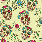 Hand drawn Day of The Dead colorful skull with floral ornament and flower seamless pattern Grey background