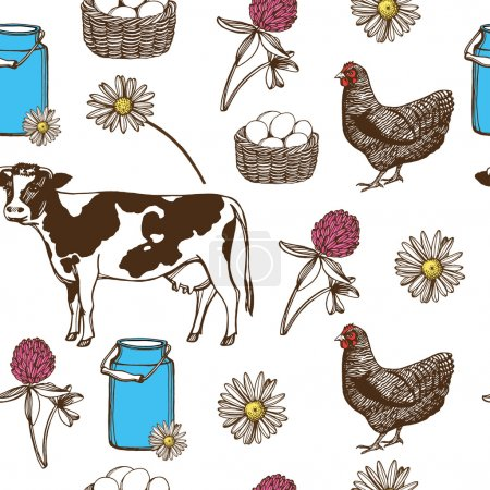 Hand drawn farm pattern.