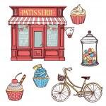 Hand drawn pastry set. Pastry shop, cupcakes, jar ...
