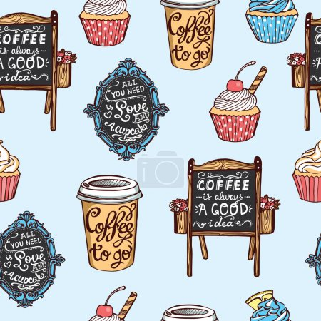 Photo for Hand drawn coffee shop seamless pattern. Cupcakes, paper coffee cups, chalkboards with letterings. Polka dot blue background - Royalty Free Image