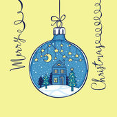 Hand drawn fairy Christmas greeting card Paper star garlands moon little house and noel tree in the Christmas ball handwritten lettering