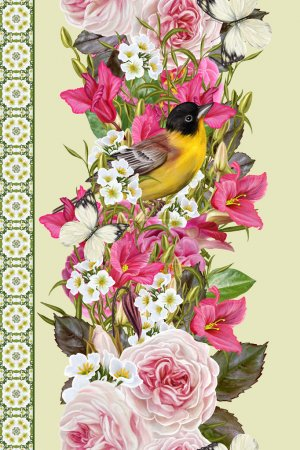 Photo for Vertical floral border. Pattern, seamless. Flower garland of roses, pink camellias, cyclamen purple, white inflorescences. Little yellow bird and white butterflies. - Royalty Free Image