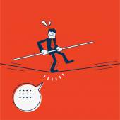 Businessman keeping his balance walking on tightrope
