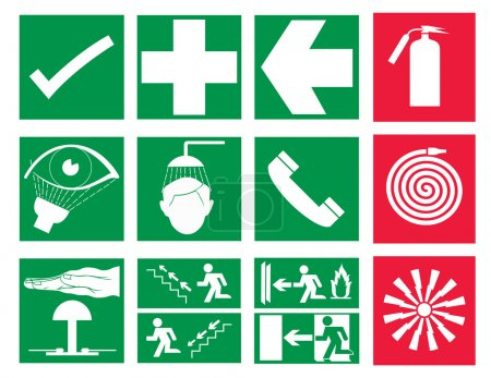 Rescue and emergency Sign & Fire safety sign vector