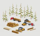 Lumber stock Logs loading on trucks