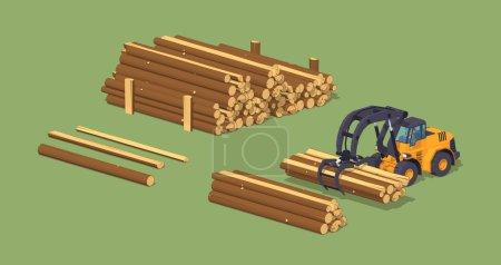 Log loader and the log piles