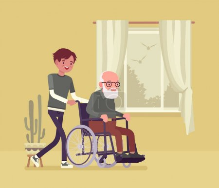 Illustration pour Wheelchair senior, aged handicapped man with male nurse at home. Older adult care, volunteer nursing, assistance, charity, disability social support service. Vector flat style cartoon illustration - image libre de droit