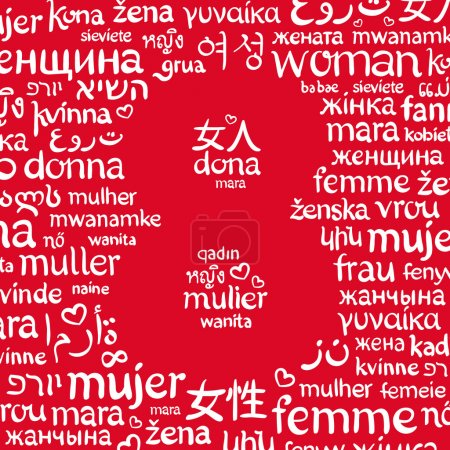 """The word """"woman"""", written in the different languages around the shape of number 8"""
