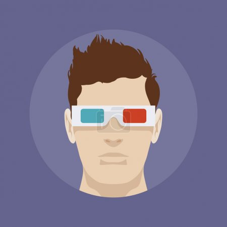 Young man in the 3d stereo glasses
