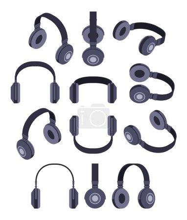 Isometric black headphones