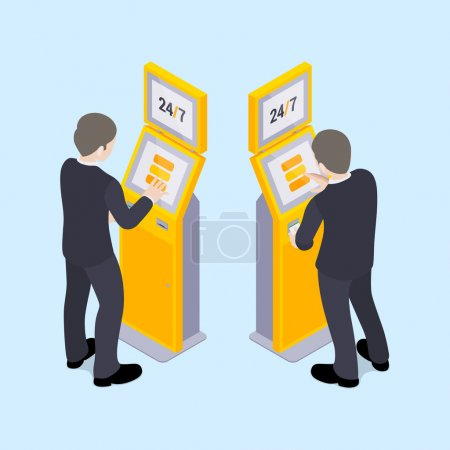 Illustration for Man in black suit near the payment terminal. Illustration suitable for advertising and promotion - Royalty Free Image