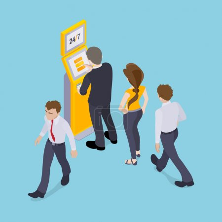 Illustration for People in line in front of the payment terminal. Illustration suitable for advertising and promotion - Royalty Free Image