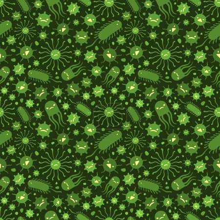Seamless pattern with the viruses
