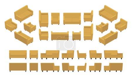 Isometric yellow modern armchair and sofa