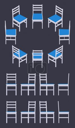 Illustration for Set of the isometric white chairs. The objects are isolated against the dark-violet background and shown from different sides - Royalty Free Image