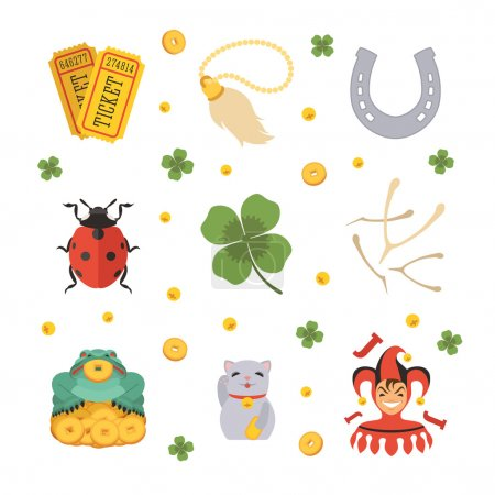 Illustration for Set of the Lucky Charms icons. The objects are isolated against the white background - Royalty Free Image