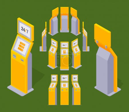 Illustration for Set of the isometric yellow payment terminals. The objects are isolated against the green background and shown from different sides - Royalty Free Image