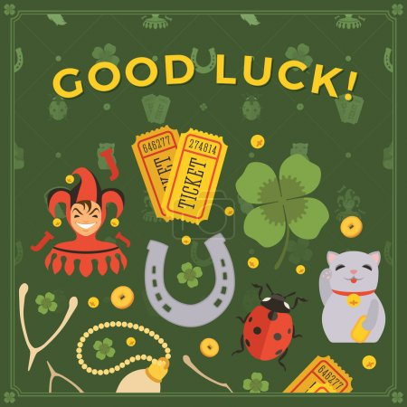 Illustration for Vector decorating design made of Lucky Charms, and the words Good Luck. Colorful card template with copy space - Royalty Free Image